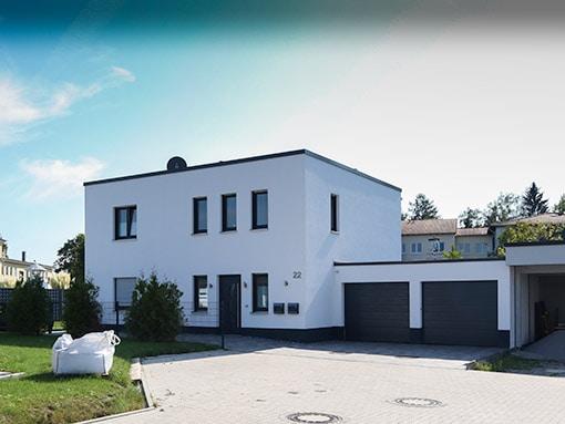 Hausbau Bauhausstil Flachdach Lippstadt Front