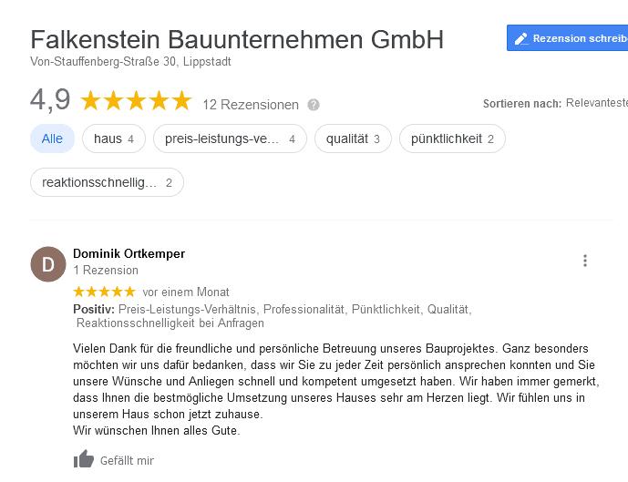 Google Review Falkenstein Ortkemper